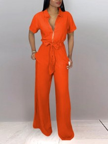 Orange Zipper Belt Pockets Turndown Collar High Waisted Wide Leg Palazzo Party Long Jumpsuit
