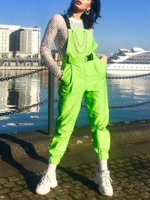 Green Neon Chain Buckle Pockets Overall High Waisted Cargo Fashion Long Jumpsuit Pants