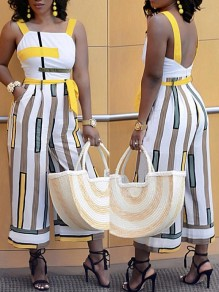 White Striped Backless Belt Pockets Wide Leg Overall Plus Size Long Jumpsuit