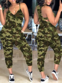 Army Green Camouflage Pockets Spaghetti Strap Hippie Cargo Casual Long Jumpsuit