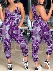 Purple Camouflage Pockets Spaghetti Strap Hippie Cargo Casual Long Jumpsuit