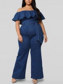 Blue Ruffle Belt Off Shoulder Denim Plus Size Fashion Long Jumpsuit