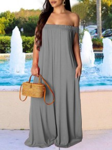 Grey Bandeau Pockets Off Shoulder Flowy Bohemian Palazzo Wide Leg Long Jumpsuit