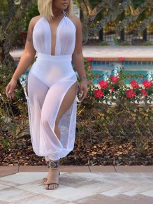 White Grenadine Halter Neck Backless Slit Sheer Deep V-neck Long Jumpsuit