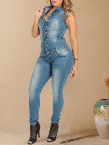 Blue Single Breasted Pockets Turndown Collar One Piece Denim Long Jumpsuit