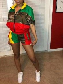 Green-Red Rasta Color Camouflage Pattern Pockets 2 Piece Casual Short Jumpsuit