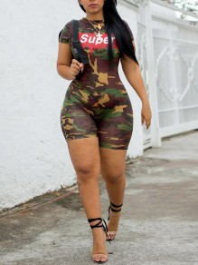 Army Green Super Pattern Short Sleeve One Piece Casual Short Jumpsuit