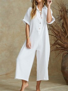 White Buttons Fashion Casual Loose Wide Leg Long Jumpsuit