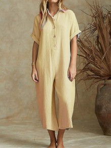 Yellow Buttons Fashion Casual Loose Wide Leg Long Jumpsuit