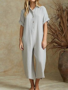 Grey Buttons Fashion Casual Loose Wide Leg Long Jumpsuit