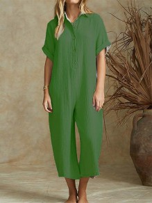 Green Buttons Fashion Casual Loose Wide Leg Long Jumpsuit