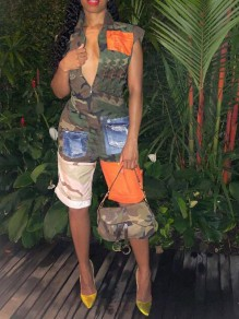 Army Green Camouflage Pockets Zipper Coachella Outfits One Piece Casual Short Jumpsuit