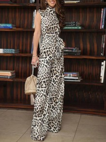 Brown Leopard Band Collar Sashes Pockets One Piece Wide Leg Long Jumpsuit