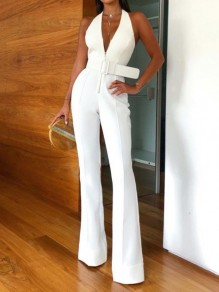 White Zipper Belt Halter Neck Deep V-neck Bell Bottom Fashion Long Jumpsuit
