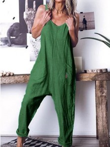 Green Pockets Comfy Fashion Going out High Waisted Long Jumpsuit