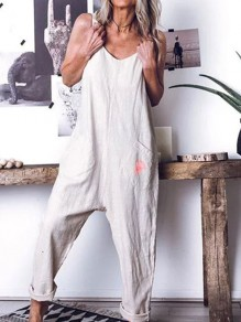 White Pockets Comfy Fashion Going out High Waisted Long Jumpsuit