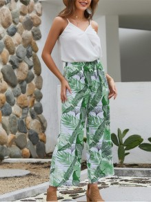 Green Floral Condole Belt 2-in-1 V-neck Bohemian Chiffon Nine's Jumpsuit Pant
