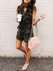 Army Green Camouflage Pockets Single Breasted Casual Denim Casual Short Jumpsuit