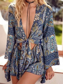 Dark Blue Floral Print V-neck Cut Out Lace up Knot Bohemian Beach Vacation Short Jumpsuit
