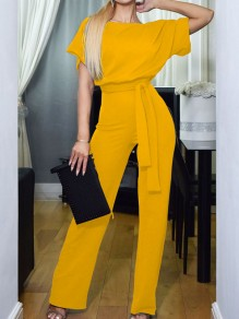 Yellow Belt OL Elegant High Waiste Wide Leg Palazzo Casual Long Jumpsuit