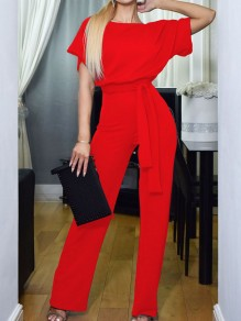 Red Belt OL Elegant High Waiste Wide Leg Palazzo Casual Long Jumpsuit