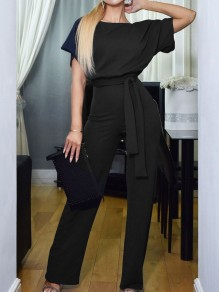 Black Belt OL Elegant High Waiste Wide Leg Palazzo Casual Long Jumpsuit
