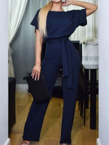 Blue Belt OL Elegant High Waiste Wide Leg Palazzo Casual Long Jumpsuit