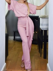 Pink Belt OL Elegant High Waiste Wide Leg Palazzo Casual Long Jumpsuit