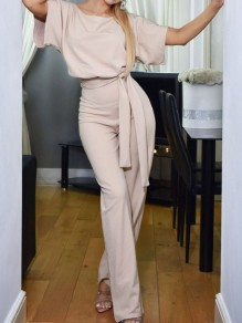 Apricot Belt OL Elegant High Waiste Wide Leg Palazzo Casual Long Jumpsuit
