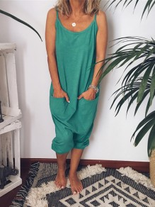 Green Pockets Spaghetti Strap Oversized Casual Long Jumpsuit