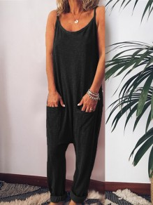 Black Pockets Spaghetti Strap Oversized Casual Long Jumpsuit