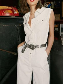 White Single Breasted Pockets Fashion Homecoming Party Long Jumpsuit
