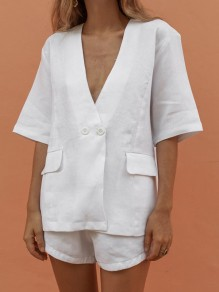White 2-in-1 Buttons Pockets V-neck Elbow Sleeve Fashion Short Jumpsuit