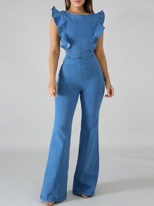 Blue Ruffle Zipper Wide Leg Plus Size Denim Fashion Long Jumpsuit