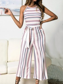 Pink Striped Belt Pockets Sleeveless Fashion Wide Leg Seven's Jumpsuit