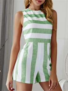 Green Striped Cut Out High Waisted Fashion Short Jumpsuit