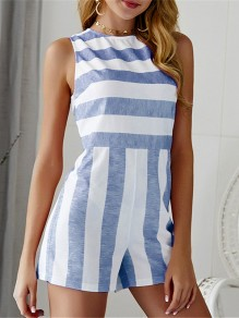 Blue Striped Cut Out High Waisted Fashion Short Jumpsuit