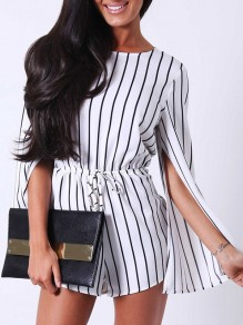 White Black Striped Cut Out Out;Drawstring High Waisted Fashion Short Jumpsuit