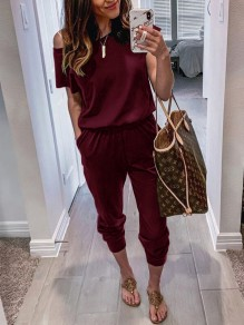 Burgundy Pockets One-shoulder High Waisted Fashion Casual Long Jumpsuit