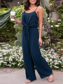 Dark Blue Lace-up Spaghetti Strap Backless High Waisted Fashion Wide Leg Long Jumpsuit