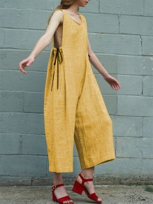 Yellow Patchwork Drawstring High Waisted Fashion Seven's Jumpsuit
