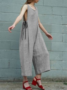 Grey Patchwork Drawstring High Waisted Fashion Seven's Jumpsuit