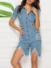 Light Blue Cut Out Distressed Ripped Buttons Pockets Denim Party Short Jumpsuit