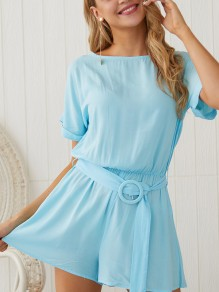 Blue Belt Pleated Bodycon Comfy Round Neck Short Sleeve Going out Jumpsuit