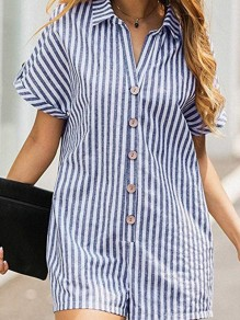 Blue Striped Single Breasted Pockets Turndown Collar Fashion Short Jumpsuit
