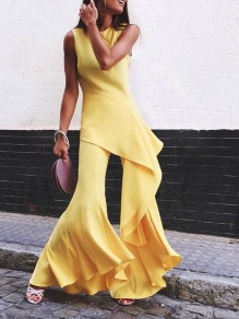 Yellow Ruffle Flares Bell-Bottomed Pants Wide Leg Palazzo Fashion Casual Long Jumpsuit