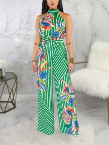 Green Striped Floral Halter Neck Belt Bohemian Party High Waisted Wide Leg Palazzo Long Jumpsuit