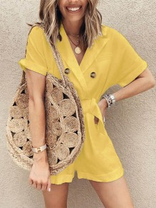 Yellow Buttons Going out Comfy Fashion High Waisted Short Jumpsuit