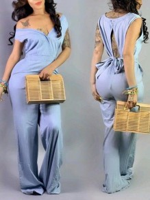 Light Blue Cut Out Off Shoulder Backless Bowknot Denim Wide Leg Long Jumpsuit