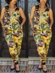 Camouflage Zipper Pockets Drawstring Casual Long Jumpsuit